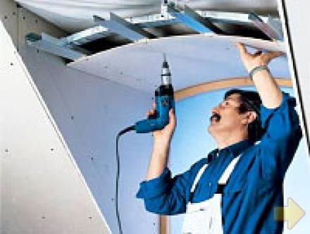 как собрать потолок из гипсокартона